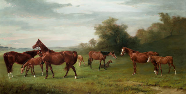 James Lynwood Palmer (British 1868-1941) Mares and foals at Lavington 127 x 67 cm. (50 x 26 1/2 in.)