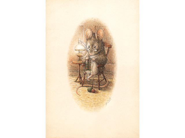 POTTER (BEATRIX) A mouse seated in an armchair, knitting with two balls of wool, beside a table on which stands a gas lamp