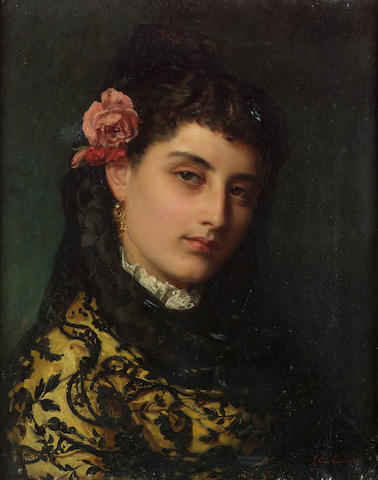 John Bagnold Burgess, RA (British 1830-1897) A Spanish beauty 51.5 x 41.5 cm. (20 1/4 x 16 1/4 in.)