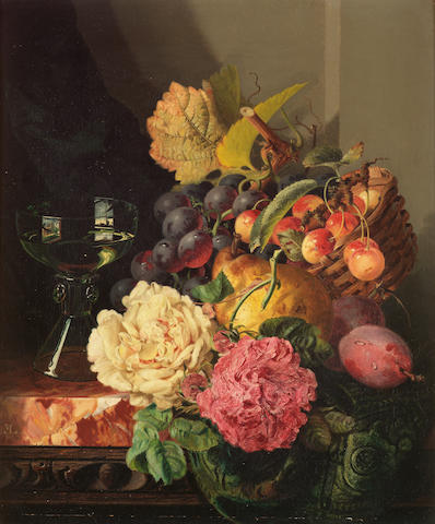 Edward Ladell (British 1821-1886) Still life with flowers, fruit and glass 36 x 30.5 cm. (14 1/4 x 12 in.)