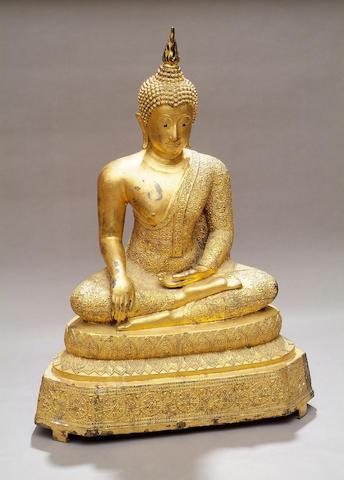 A gilt bronze large South East Asian Buddha Seated in bhumisparimudra, 100cm high.