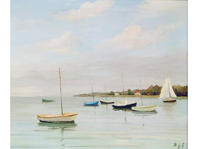 "Marcel Dyf (1899-1985) ""Calm waters at Logeo, Brittany"", with boats moored in the foreground, 44 x 53cm."