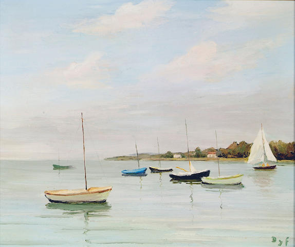 """Marcel Dyf (1899-1985) """"Calm waters at Logeo, Brittany"""", with boats moored in the foreground, 44 x 53cm."""