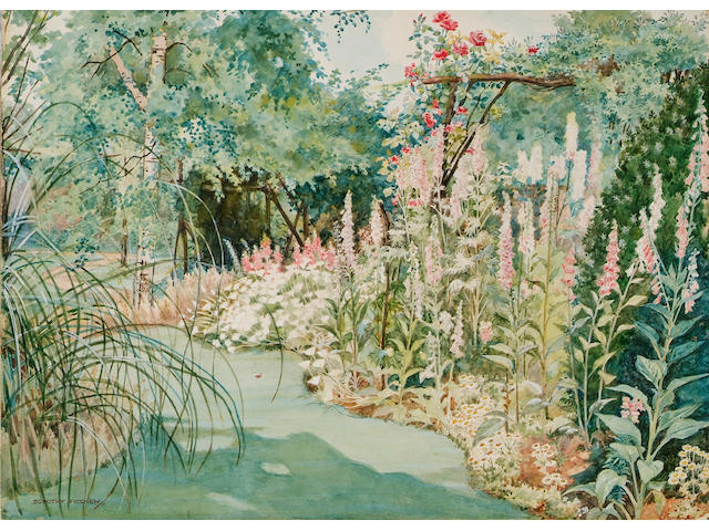 Dorothy Fitchew (fl.1910-1922), Summer garden with rose arbour, hollyhocks and other flowers, signed, watercolour, 26.5 x 37cm. (unframed)