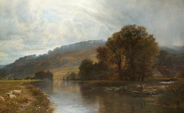 George Vicat Cole, RA (British 1833-1893) Streatley 92 x 146 cm. (36 1/4  x 57 1/2 in.)