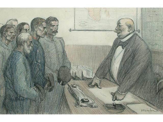 Theophile Alexandre Steinlen (Swiss, 1859-1923) 'Fin de Greve' 38 x 58cm (15 x 23in)
