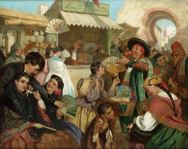 John Bagnold Burgess, RA (British 1830-1897) The fan seller 58 x 71.5 cm. (23 x 28 1/4 in.)