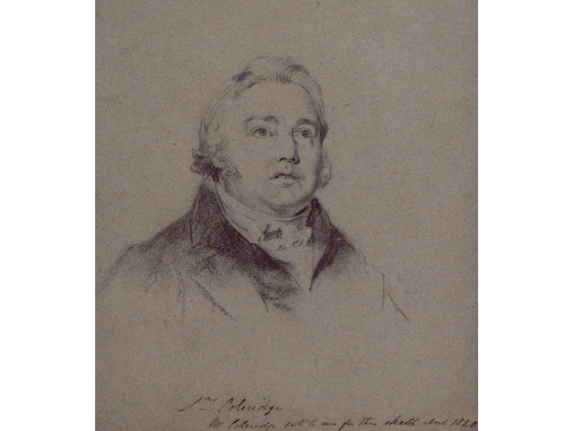 COLERIDGE, SAMUEL TAYLOR (1772-1834, poet, critic and philosopher) PORTRAIT BY CHARLES ROBERT LESLIE