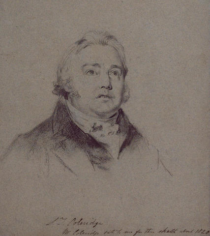 COLERIDGE, SAMUEL TAYLOR (1772-1834, poet, critic and philosopher) PORTRAIT BY CHARLES ROBERT LESLIE (1794-1859),
