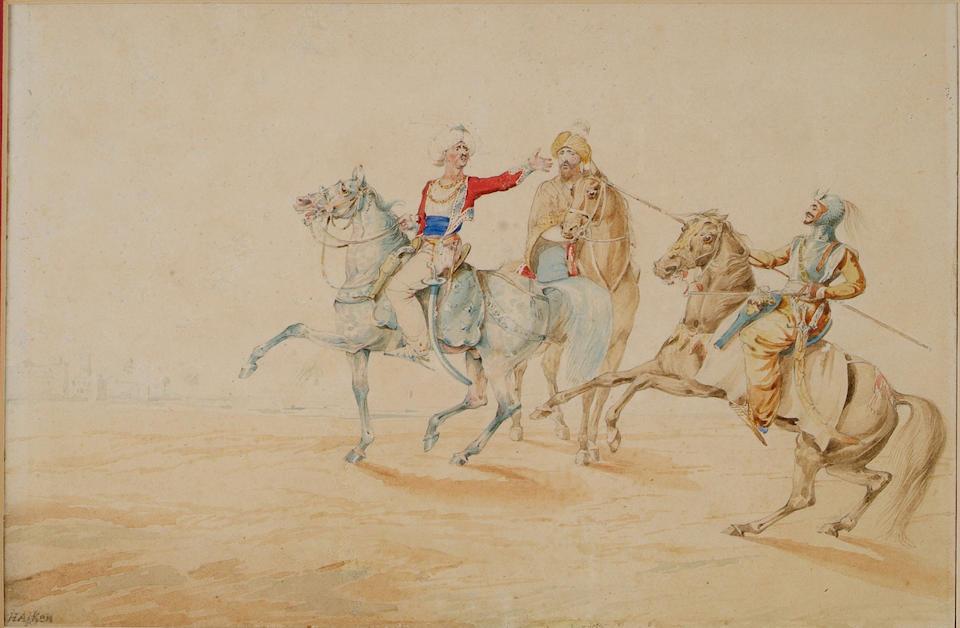 Henry Alken Senior (1785-1851) Three mounted Arab horsemen in a desert, a town on the skyline, and c