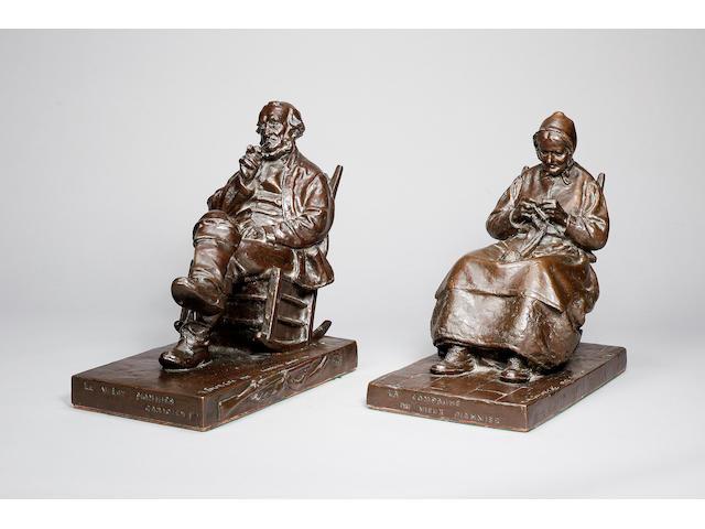 Marc Aurèle de Foy Suzor-Côté (French-Canadian, 1869 - 1937): A pair of bronze figures of 'Le Vieux Pionnier Canadien' and 'La Compagne du Vieux Pionnier'