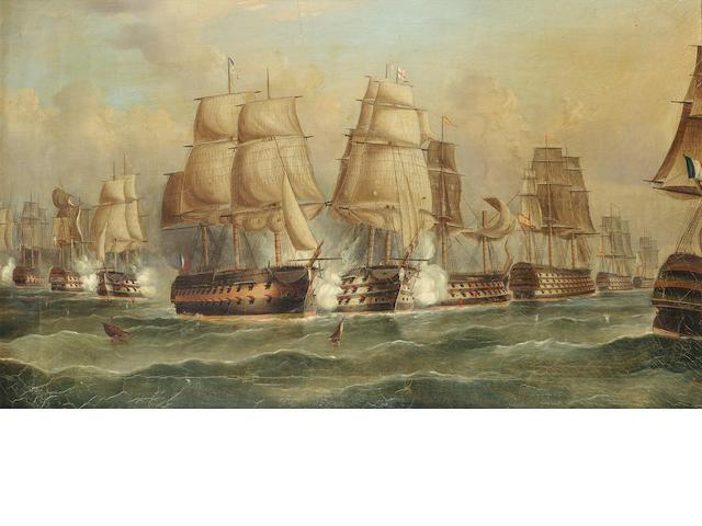 William Barnett Spencer (British, 19th. Century) The Battle of Trafalgar each 48.2 x 78.8cm. (19 x 3