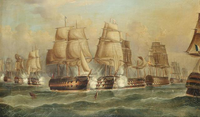 William Barnett Spencer (British, 19th. Century) The Battle of Trafalgar, a set of four, comprising: each 48.2 x 78.8cm. (19 x 31in.), (4)