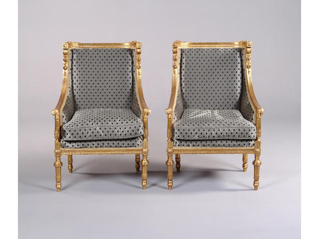 A pair of late 19th century French giltwood fauteuilsin the Louis XVI style