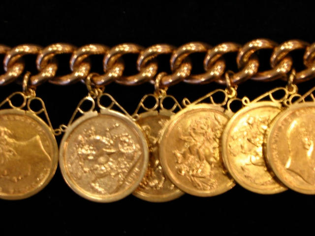 A 9ct gold hollow curb-link bracelet suspending twelve sovereigns, 1886-1914, each in individual pendant mounts, with 9ct gold padlock clasp,