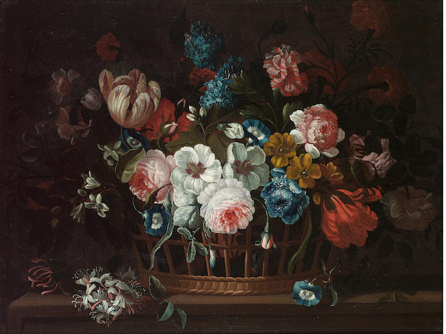 Circle of Pieter Casteels (Antwerp 1684-1749 Richmond) Roses, carnations, peonies, tulips, morning g