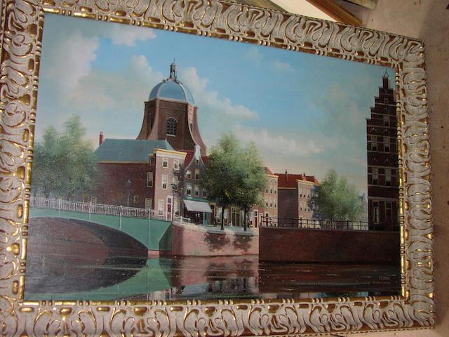 "G J Dispo (20th Century) ""Marekerk Leiden"", canal scene with figures by a church, 59 x 90cm."