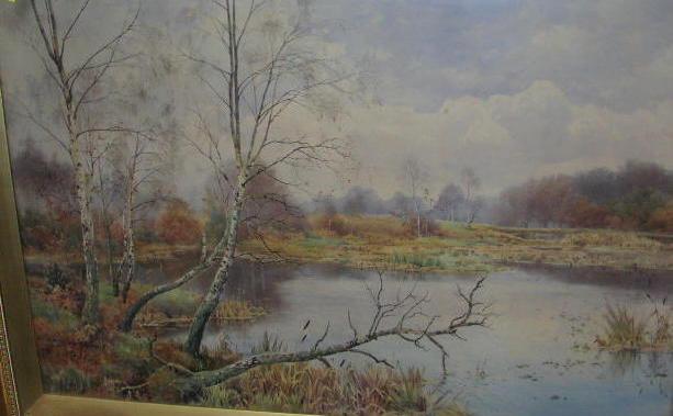 Benjamin John Ottewell (died 1937) An autumnal river scene 58 x 87.5cm.