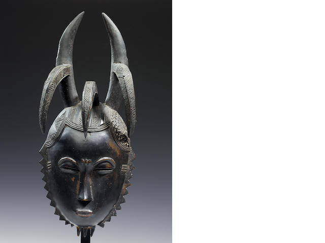 A Baule dance mask and stand  33.7cm