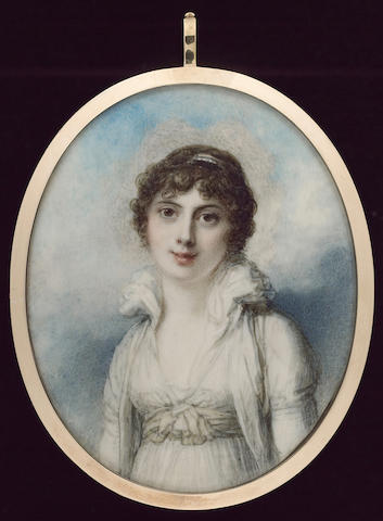 Richard Cosway, R.A., A double-sided miniature of a Mother and Child; she wearing a white dress with high frilled collar and pale yellow waist-sash, white over-dress, a pearl bandeau in her brown hair; the child with auburn hair wearing a coral necklace
