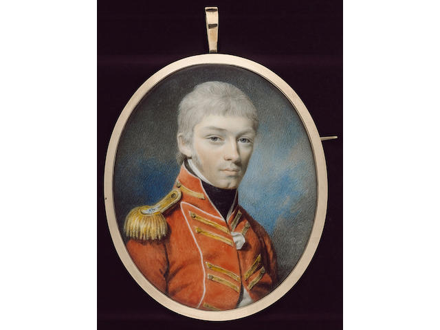 William Naish, Captain Henry Sherwood (1776-1849), wearing the uniform of the 53rd Foot, scarlet coat and facings edged with white piping, gold lace button holes in pairs and gold epaulette, frilled white chemise and black stock