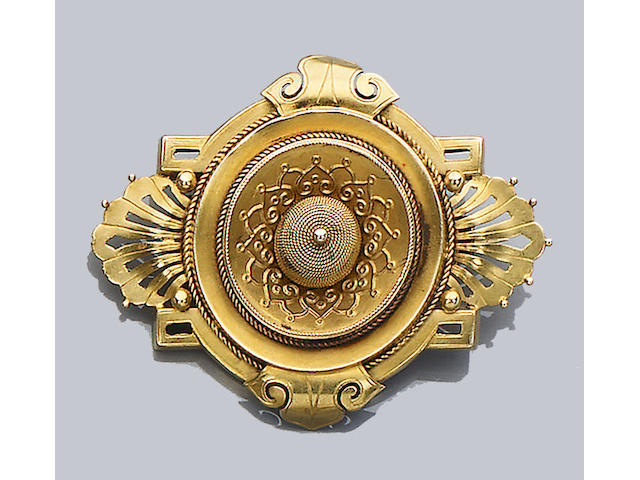 A mid 19th century gold brooch,