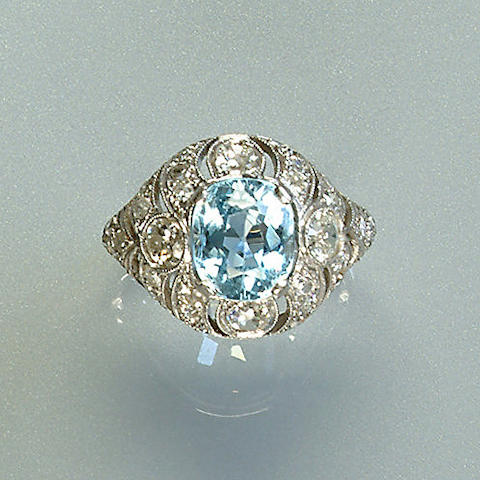 A paste and diamond dress ring, French,