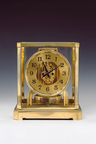 A 20th century lacquered brass Atmos timepiece Jaeger Le Coultre, No.6885