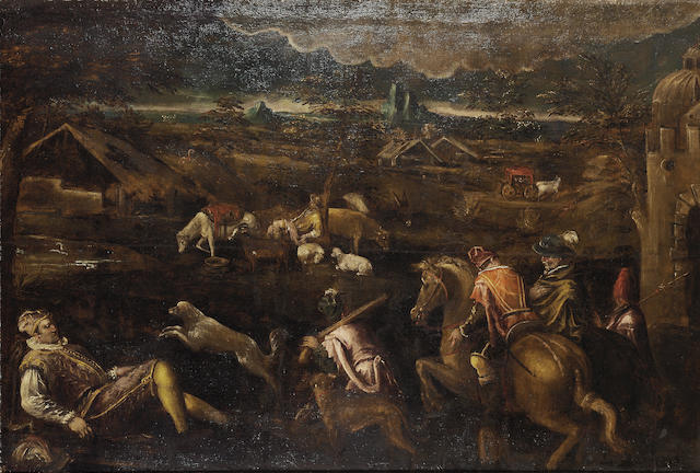 Studio of Francesco da Ponte, called Francesco Bassano (Bassano circa 1549-1592) An extensive landscape with an elegant hunting party 135.7 x 210 cm. (53 1/8 x 82 5/8 in.)