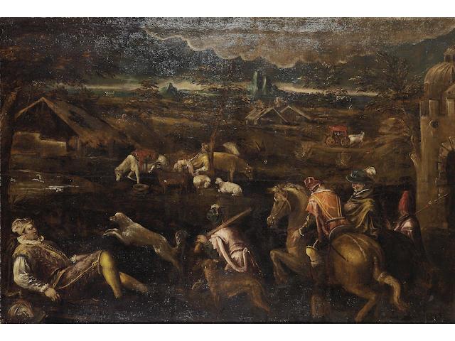 Studio of Francesco da Ponte, called Francesco Bassano (Bassano circa 1549-1592) An extensive landscape with an elegant hunting party 135.7 x 210 cm. (53 1/8 x 82 5/8 in.)