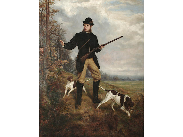 J. Turner (British, fl.1872) Rough shooting with two pointers, 110.7 x 85.2 cm (39 5/8 x 33 1/2 in)