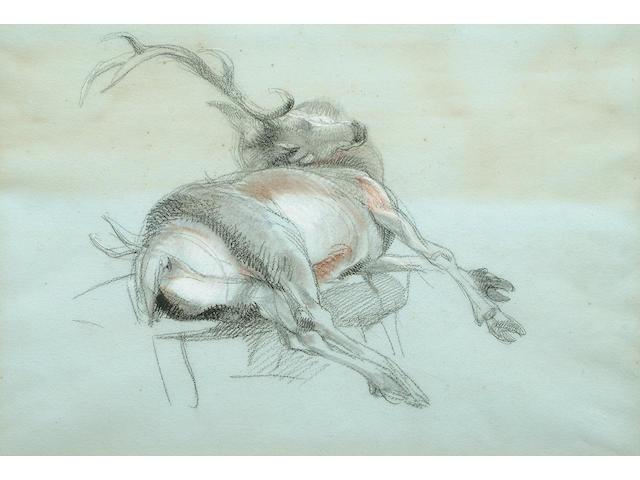 Sir Edwin H. Landseer (British, 1802-1873) Study of a dead stag, 32 x 47.2 cm (13 5/8 x 18 5/8 in)