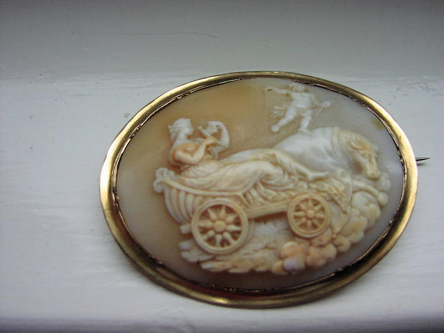 An oval shell cameo brooch,