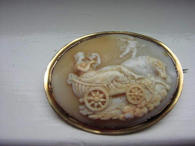 An oval shell cameo brooch,