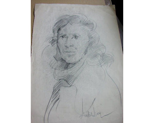 Robert Lenkiewicz, study of a lady, pencil on paper, 42 x 29.5cm, signed