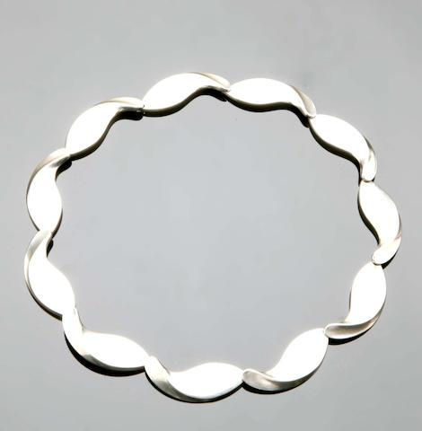 A modern silver necklace, by Hans Hansen of Georg Jensen,