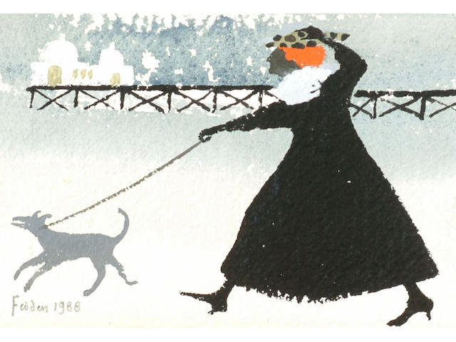 Mary Fedden (1915-) 'Walking the dog' 10 x 14cm
