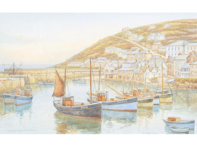 Thomas Herbert Victor (1894-1980) 'Mousehole and Mount's Bay' and 'Mousehole harbour', 27 x 42cm