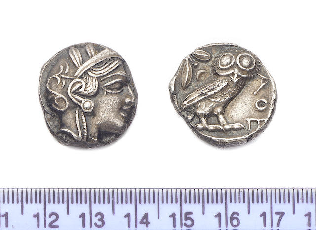 Attica, Athens, AR Tetradrachm 17.17g. Athens right, rev. Owl, above olive sprig and crescent behind (SNG Cp 31)