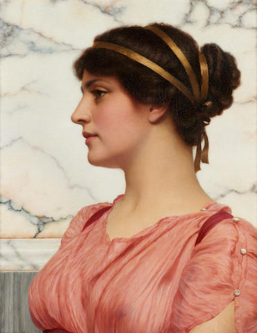 John William Godward, RBA (British 1861-1922) Roman Beauty 50 x 40 cm. (19 3/4 x 15 3/4 in.)