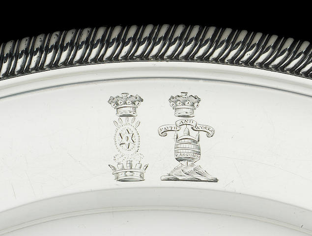A Paul Storr circular silver plate from Nelson's Nile service