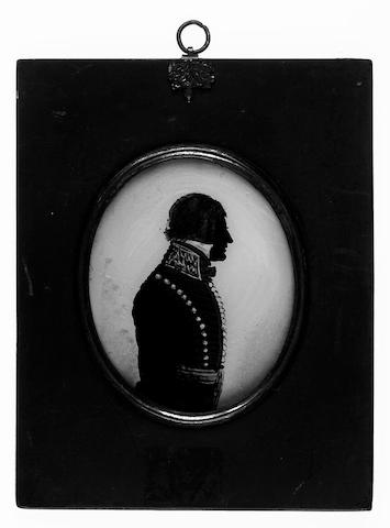 English School, A silhouette of an Officer, profile to the right, wearing uniform and crimson waistsash