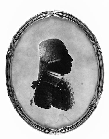 J. Dimmock, A silhouette of a Gentleman, profile to the left, wearing coat, frilled chemise and tied stock