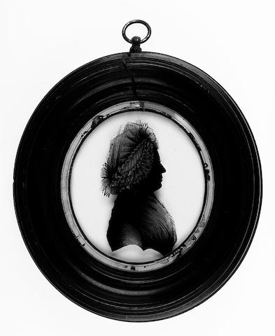 Mrs. Isabella Beetham, A silhouette of Faith Gray, wife of William Gray, profile to the right, wearing fichu and spotted gauze bonnet