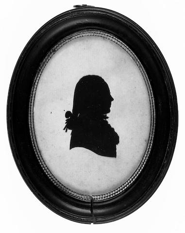 Richard Jorden, A silhouette of a Gentleman, profile to the right, wearing coat and frilled chemise, his hair in a tied pigtail