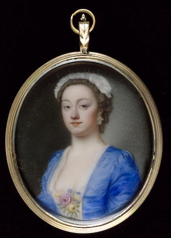 Jean André Rouquet, A Lady, wearing blue dress, white underdress, roses at her corsage, earring and white cap