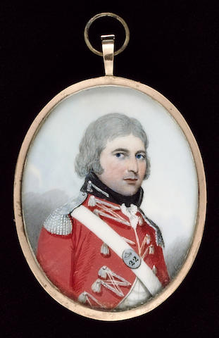 Frederick Buck, An Officer, wearing the uniform of the 22nd Foot, scarlet coat with silver lace and epaulettes, his shoulder belt plate stamped '22'