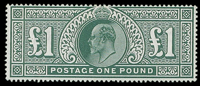 1902-13 K.E.VII: A mint selection, veried condition, comprising set to 1/-., 2/6d., 5/-., 10/- and £1 deep green, also 1911 Harrison to 4d.