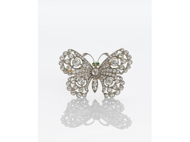 An Edwardian diamond and demantoid garnet butterfly brooch,