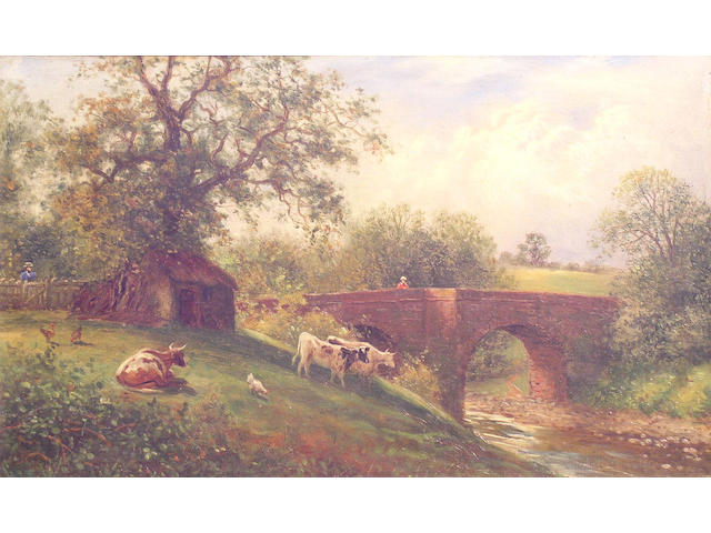 British School, circa 1880 Children by a watermill; and another, Cattle before a stream and bridge, a pair, 23 x 36cm.